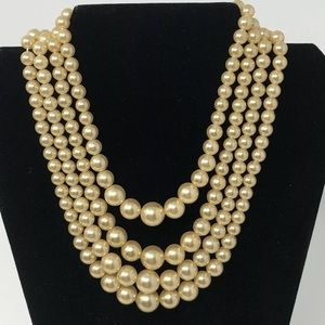 Vintage Necklace 4 Strand Faux Pearl / Crown End